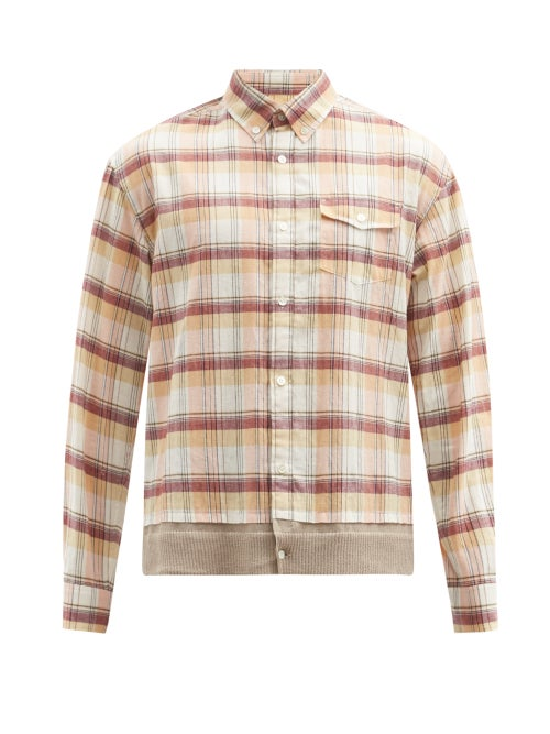 Undercover - Knitted-back Checked Cotton-canvas Shirt - Mens - Pink