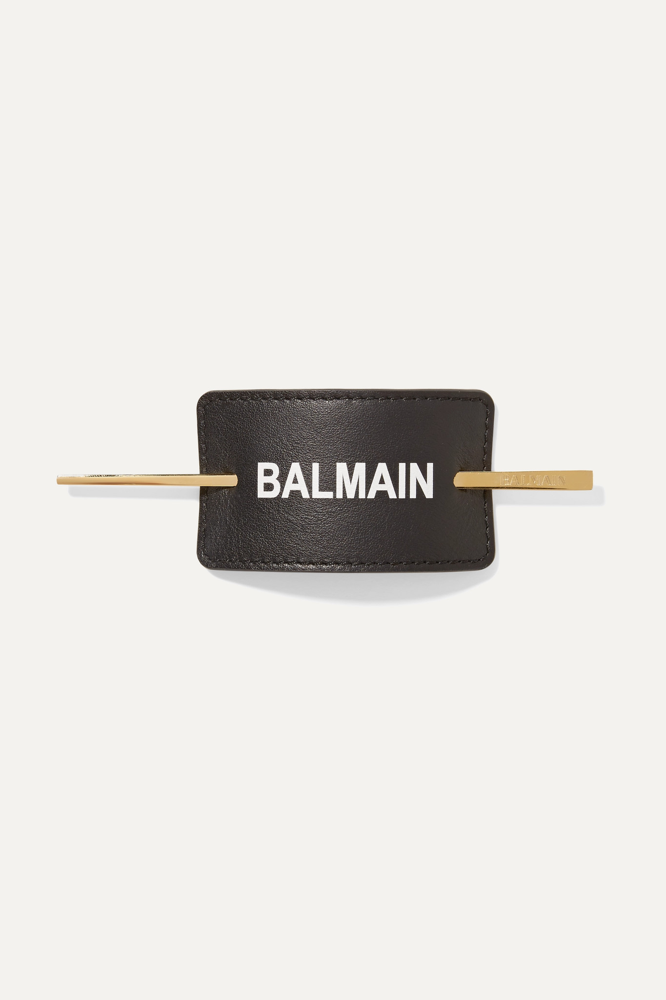BALMAIN PARIS HAIR COUTURE - Gold-plated And Printed Leather Hair Pin - Black - one size