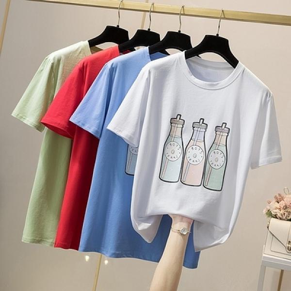 大碼短袖T恤上衣L-4XL夏季新款純棉短袖印花T恤21019MR26韓衣裳