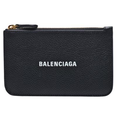 BALENCIAGA 經典品牌字母LOGO拉鍊零錢包(黑)