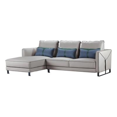 綠活居 里茲  現代灰皮革L型沙發組合-262x150x62cm免組