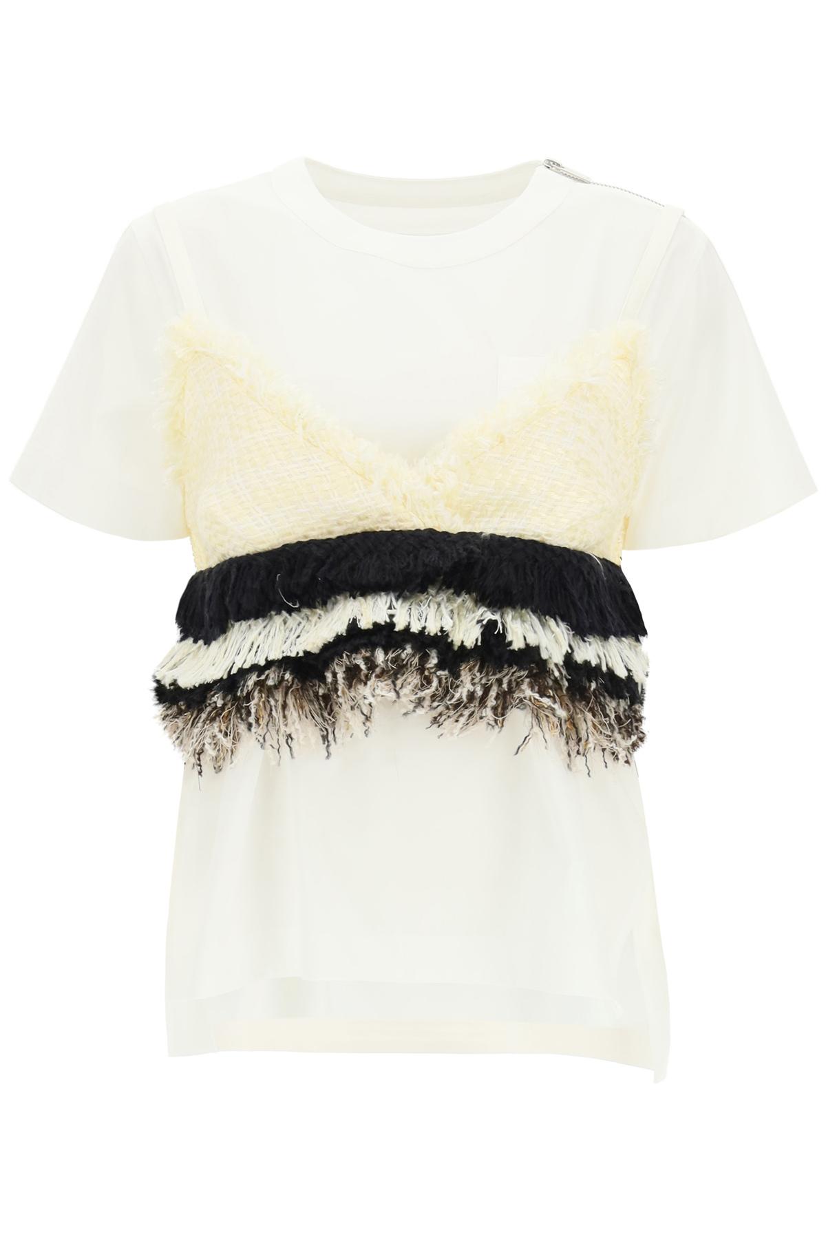 SACAI T-SHIRT WITH TWEED TOP 2 White, Black, Beige Cotton