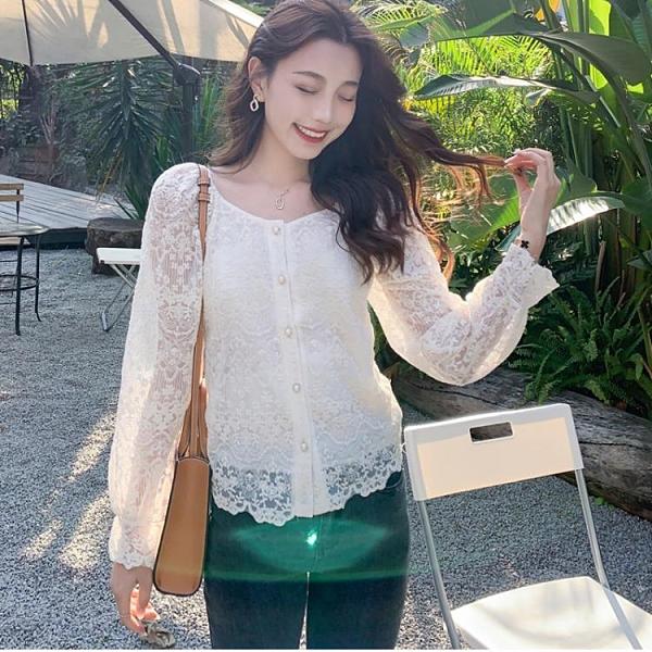 蕾絲衫長袖甜美氣質上衣S-2XL方領氣質小衫洋氣開衫時尚蕾絲打底衫鏤空上衣FF027韓衣裳