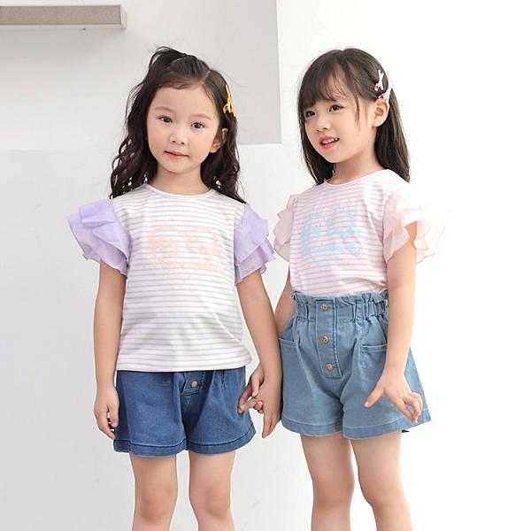 粉 浪漫粉條紋波浪袖短T 春夏童裝 女童棉T 女童上衣 女童短袖 女童T恤