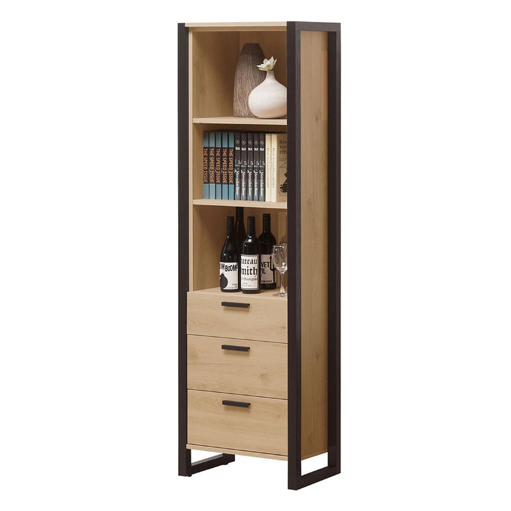 【58cm三抽書櫃-A533-4】北歐工業 置物櫃 玻璃實木 書房書櫃書架 櫥櫃 層架收納整理 【金滿屋】