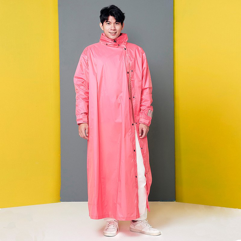 【MORR】Slashie 斜前開雨衣-PVC版本_蜜桃粉