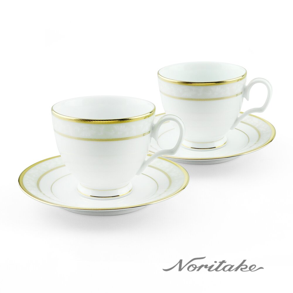 【Noritake】花舞春風金邊對杯