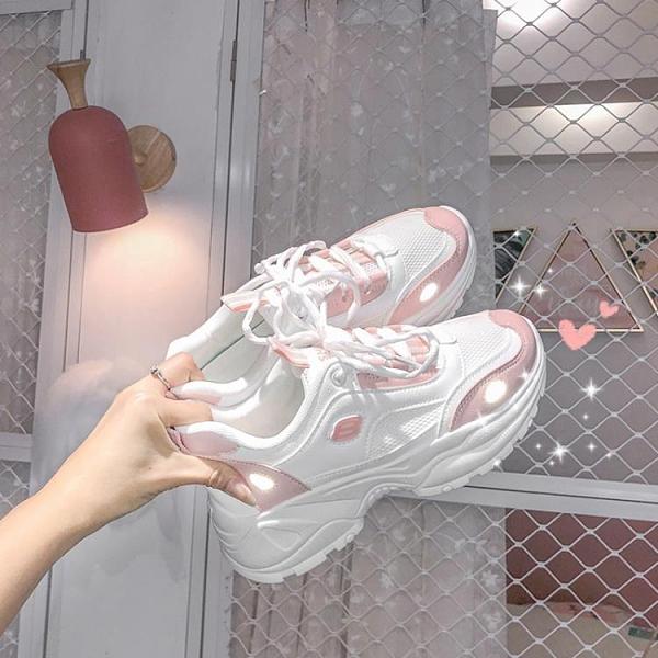 新款櫻花仙女粉運動老爹鞋女2021ins夏季百搭反光超火女鞋 茱莉亞