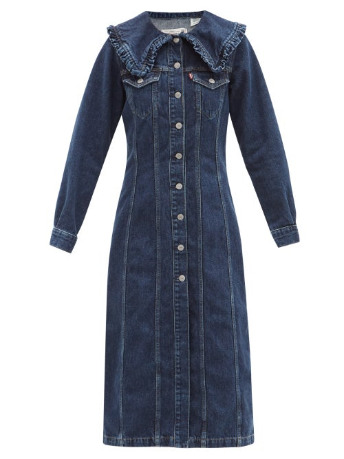 Ganni - X Levi's Ruffled-collar Denim Shirt Dress - Womens - Dark Denim