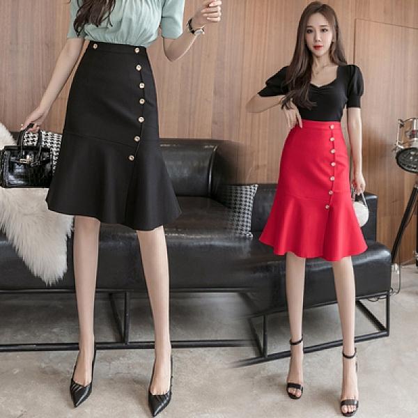 包臀裙OL半身裙S-3XL1088撞色金屬紐扣時尚復古優雅撞色紐扣高腰魚尾裙半身裙D734紅粉佳人