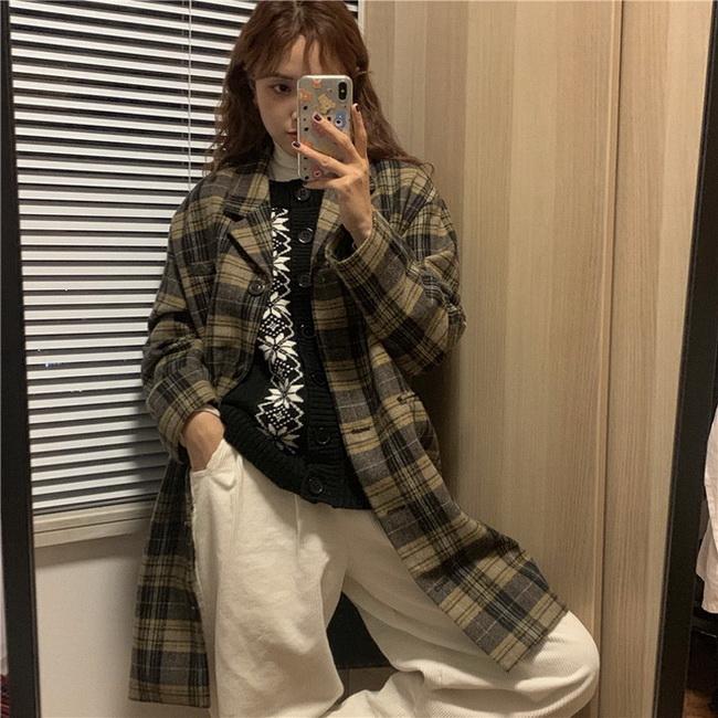 FOFU- 中長版楓色格紋毛呢外套女單排扣寬鬆復古毛呢大衣【08SG05202】