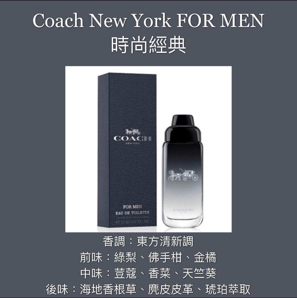 【香舍】Coach New York FOR MEN 時尚經典 男性淡香水 15ML 小香
