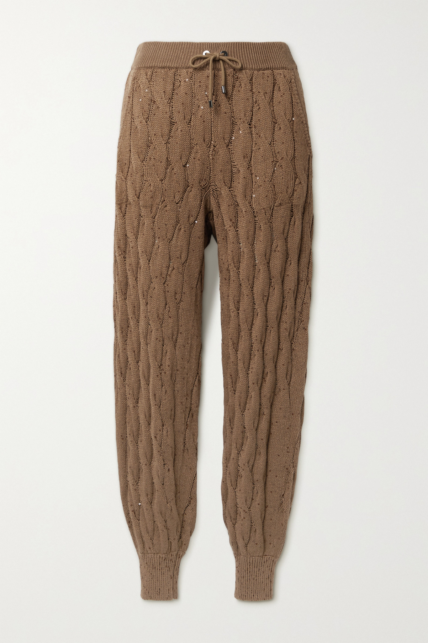 BRUNELLO CUCINELLI - Sequin-embellished Cable-knit Track Pants - Brown - xx small