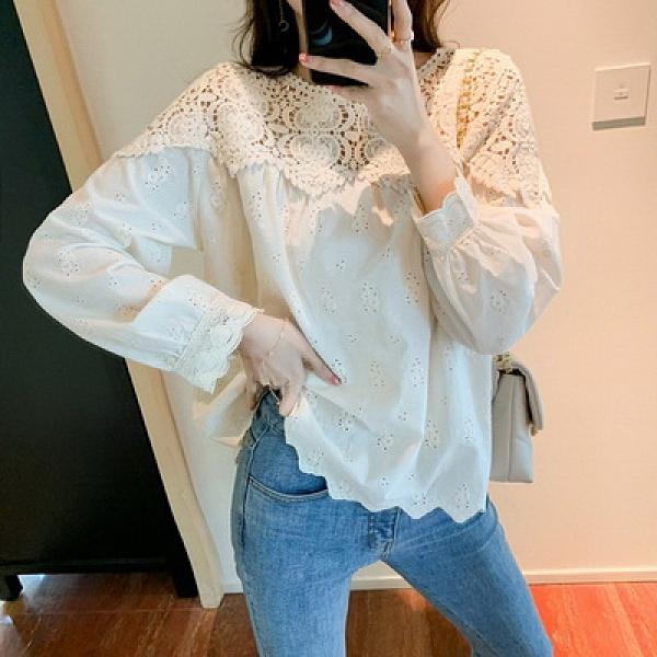 (下殺)鏤空蕾絲衫上衣女長袖襯衫設計感百搭雪紡衫【08SG05175】