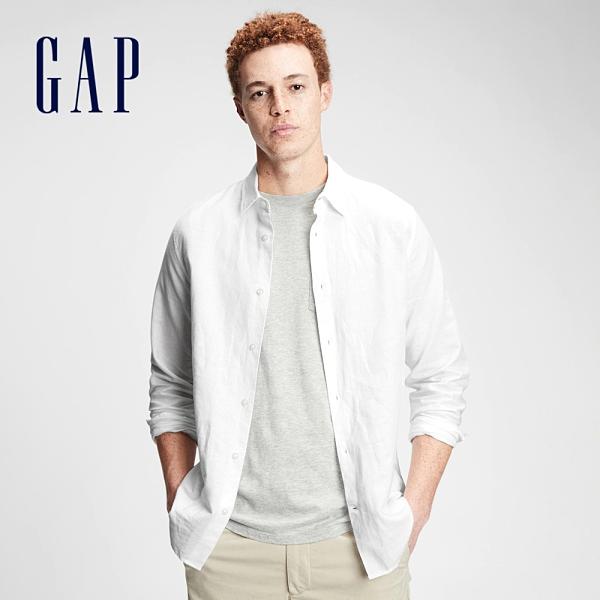 Gap男裝 亞麻混紡休閒長袖襯衫 807444-白色