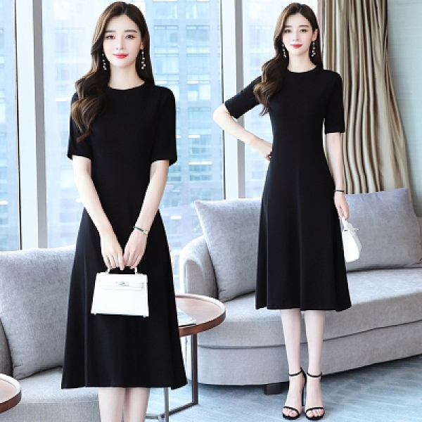 短袖洋裝輕熟風連身裙女時髦黑色洋氣圓領短袖純色中長裙收腰顯瘦韓版裙子T105快時尚