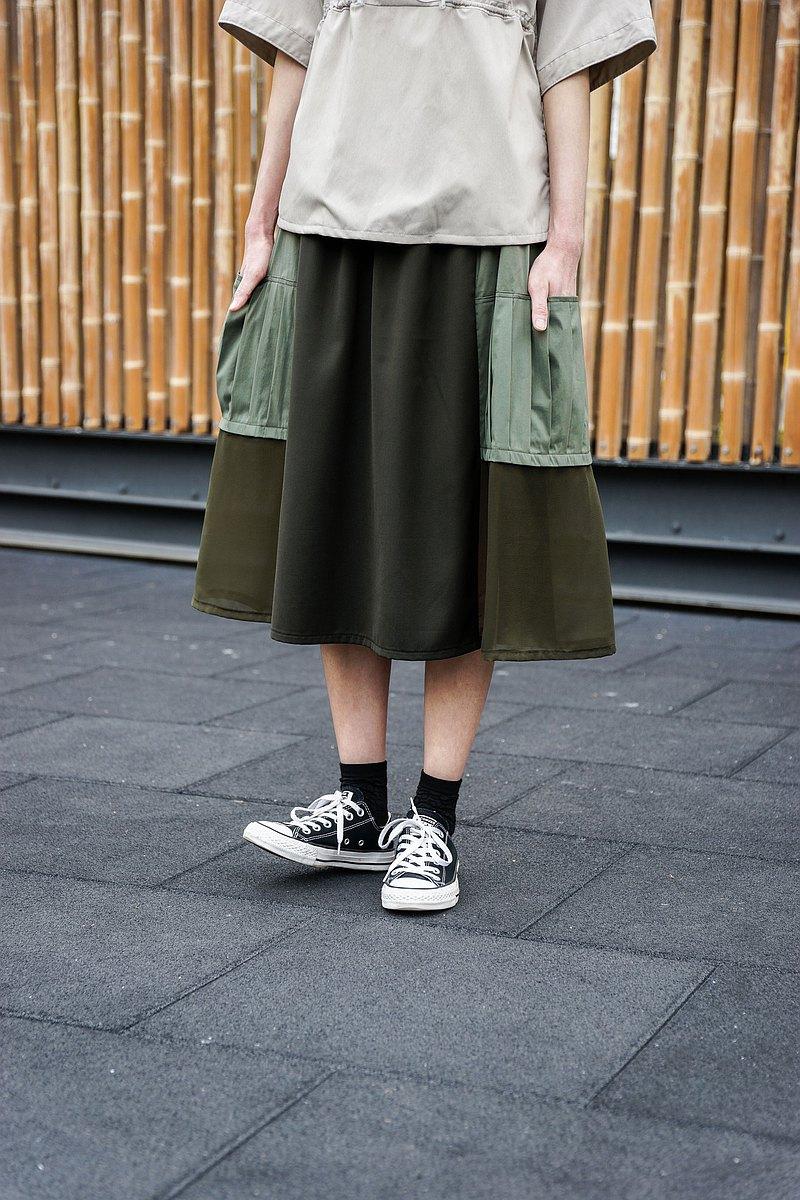 風琴袋拼紗裙(綠)