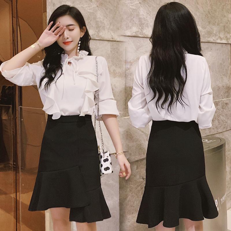 黑色a字裙女氣質款優雅百搭時尚花瓣魚尾裙半身裙女荷葉邊不規則中長款高腰包臀長裙