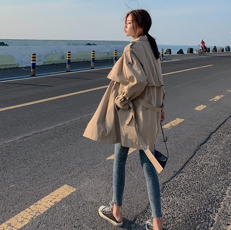 風衣 風衣女秋季新款小個子韓版寬松學生卡其色中長款外套女