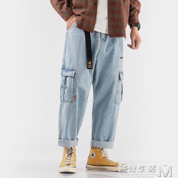 男新款工裝牛仔褲夏季寬鬆直筒休閒褲潮流大碼胖子男褲