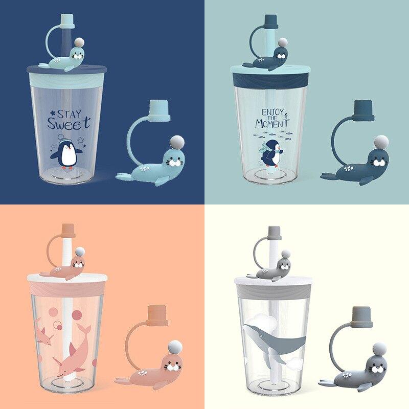 水杯 TRITAN材質 可愛學生便攜防漏帶吸管兒童卡通吸管杯 塑料水杯