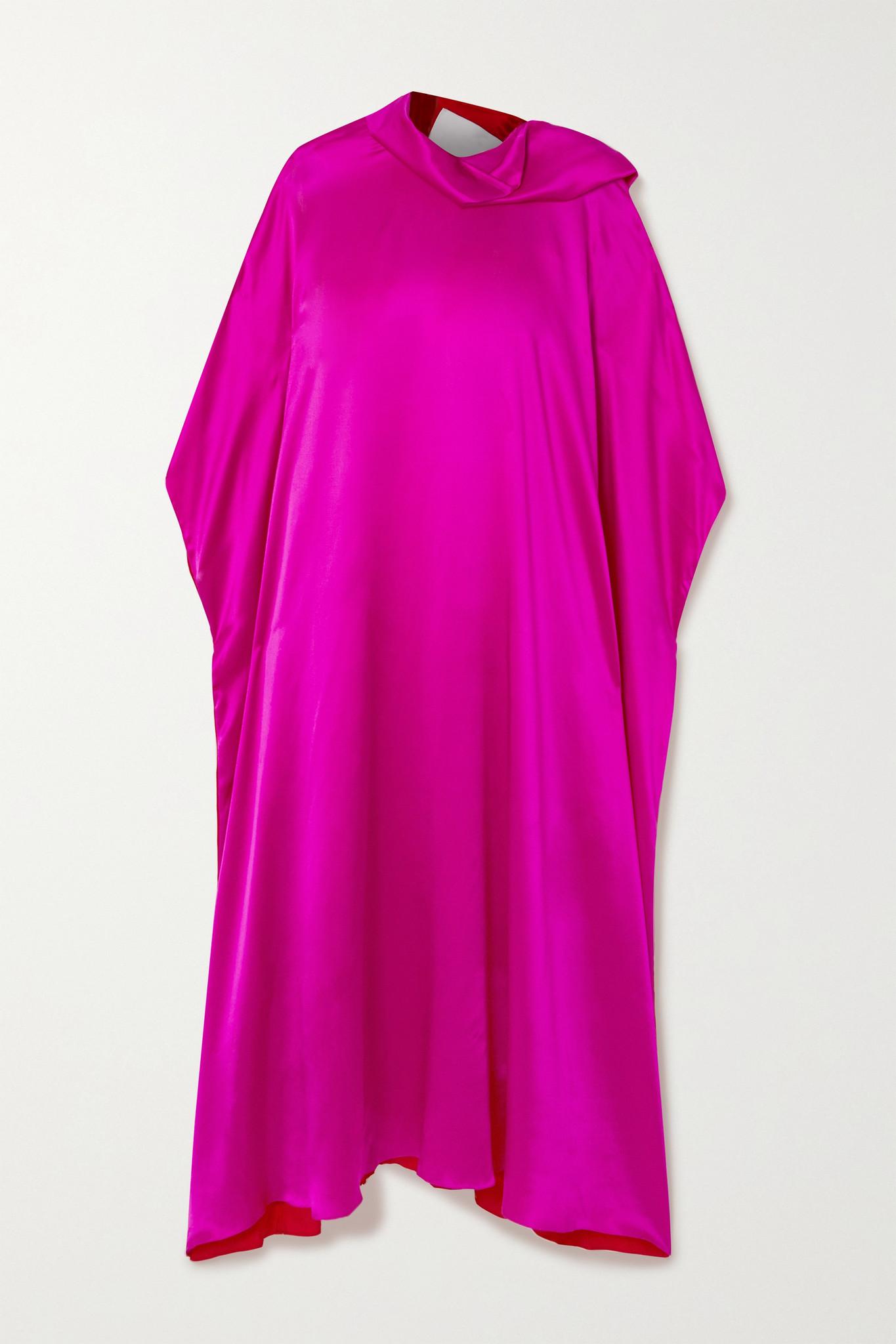 HALPERN - 系带细节双色真丝混纺缎布超长连衣裙 - 粉红色 - FR34