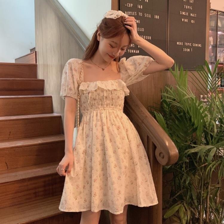 洋裝 法式方領泡泡袖碎花洋裝春裝2021年新款女裙子氣質收腰顯瘦短裙-莎韓依