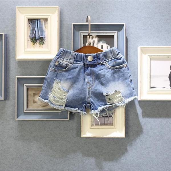 男童牛仔短褲 兒童正韓童裝男童女童夏季新款時尚破洞牛仔短褲中性熱褲-Ballet朵朵