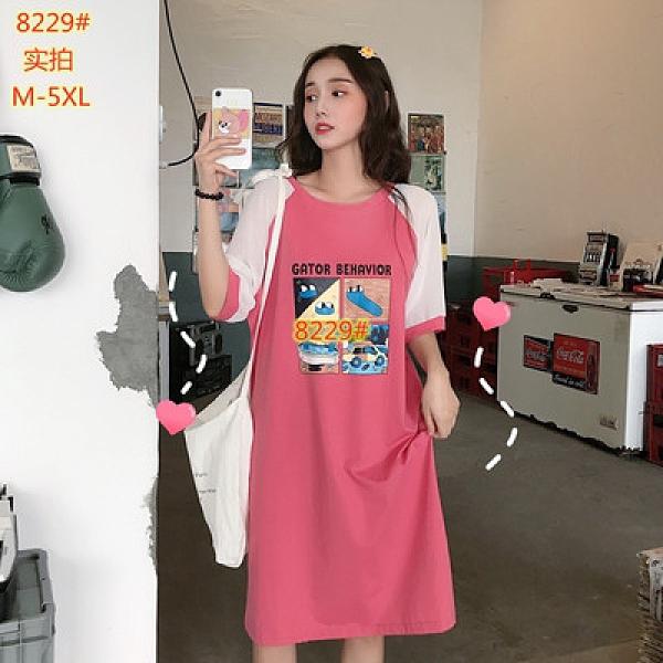 M-5XL胖妹妹大碼洋裝~8229#韓版雪紡拼接短袖女寬松中長款女士t恤超火2F124莎菲娜