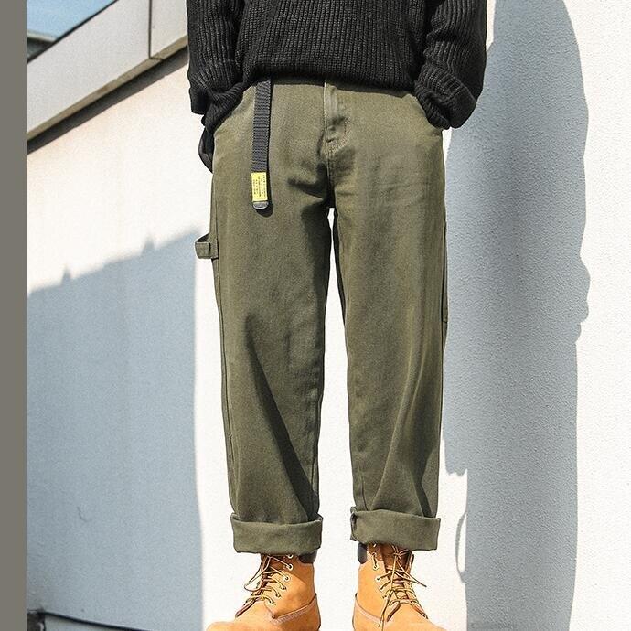 秋冬季款軍綠色工裝牛仔褲男加絨加厚寬鬆直筒保暖闊腿長褲潮牌--品質保證 免運