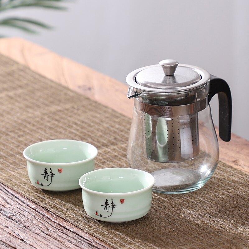 飄逸壺 陶瓷茶杯茶具套裝泡茶壺玻璃沏茶杯 過濾家用耐高溫沖茶器飄逸杯【旅行必備】【XXL3752】