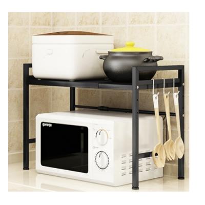 兩層小號廚房伸縮微波架/烤箱/收納架 黑色 YL0008BS