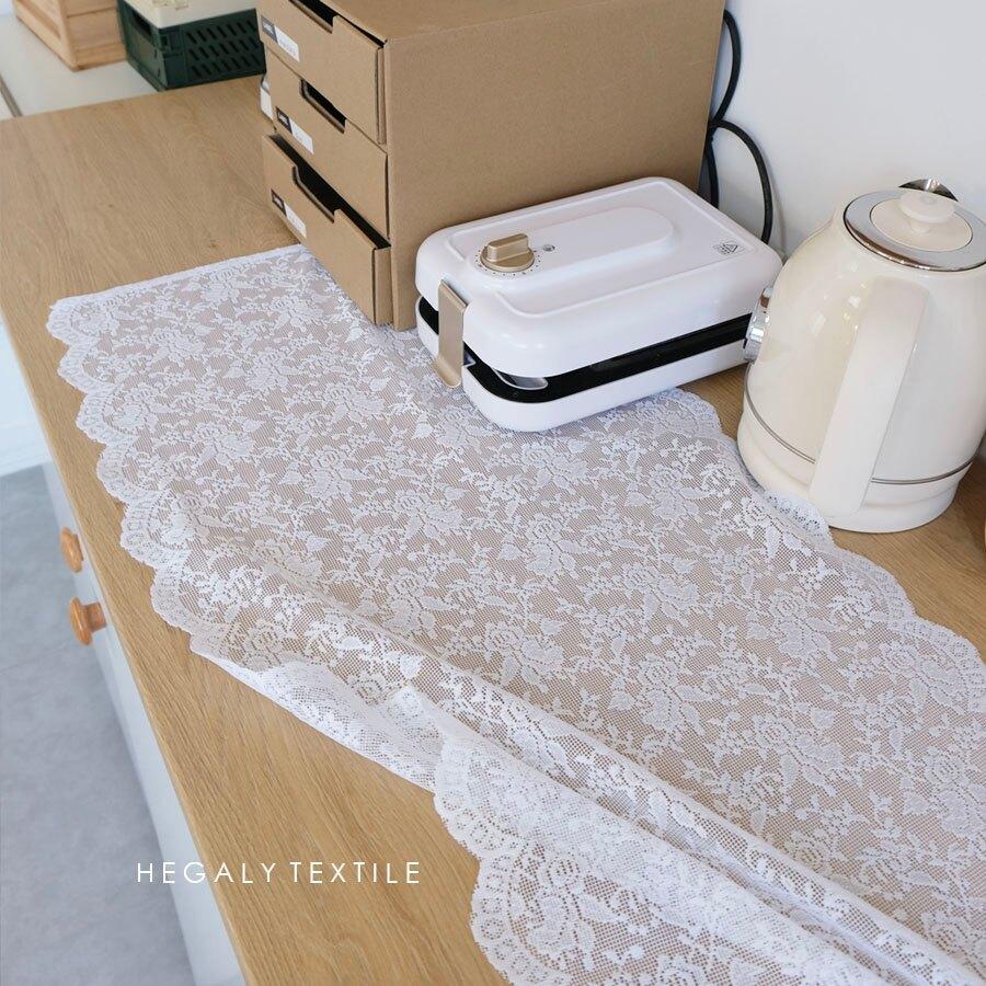 桌旗/桌布 浪漫小玫瑰桌旗紗質桌布蕾絲法式布藝裝飾復古純白色碎花【XXL3803】