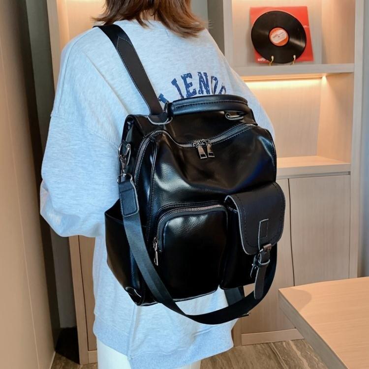 復古港風pu後背包女韓版流行新款潮韓版大容量時尚單肩包背包 果果輕時尚