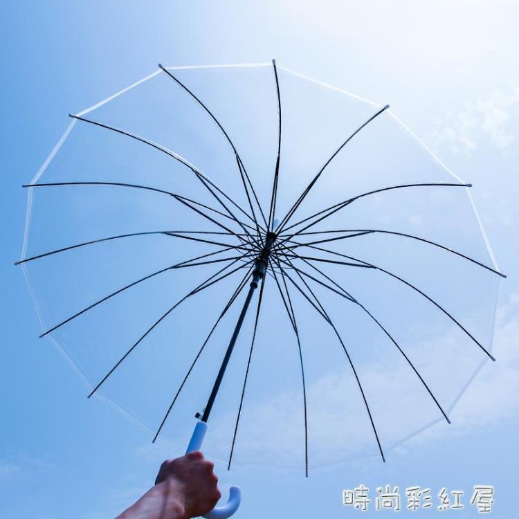 16骨透明雨傘長柄大號雙人直柄雨傘白色網紅清新折疊定制logo傘