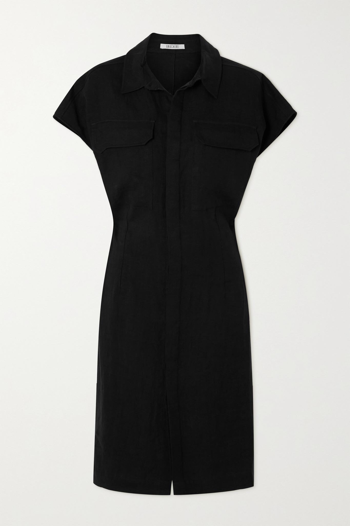 GAUCHERE - Seffa 亚麻衬衫式连衣裙 - 黑色 - FR36