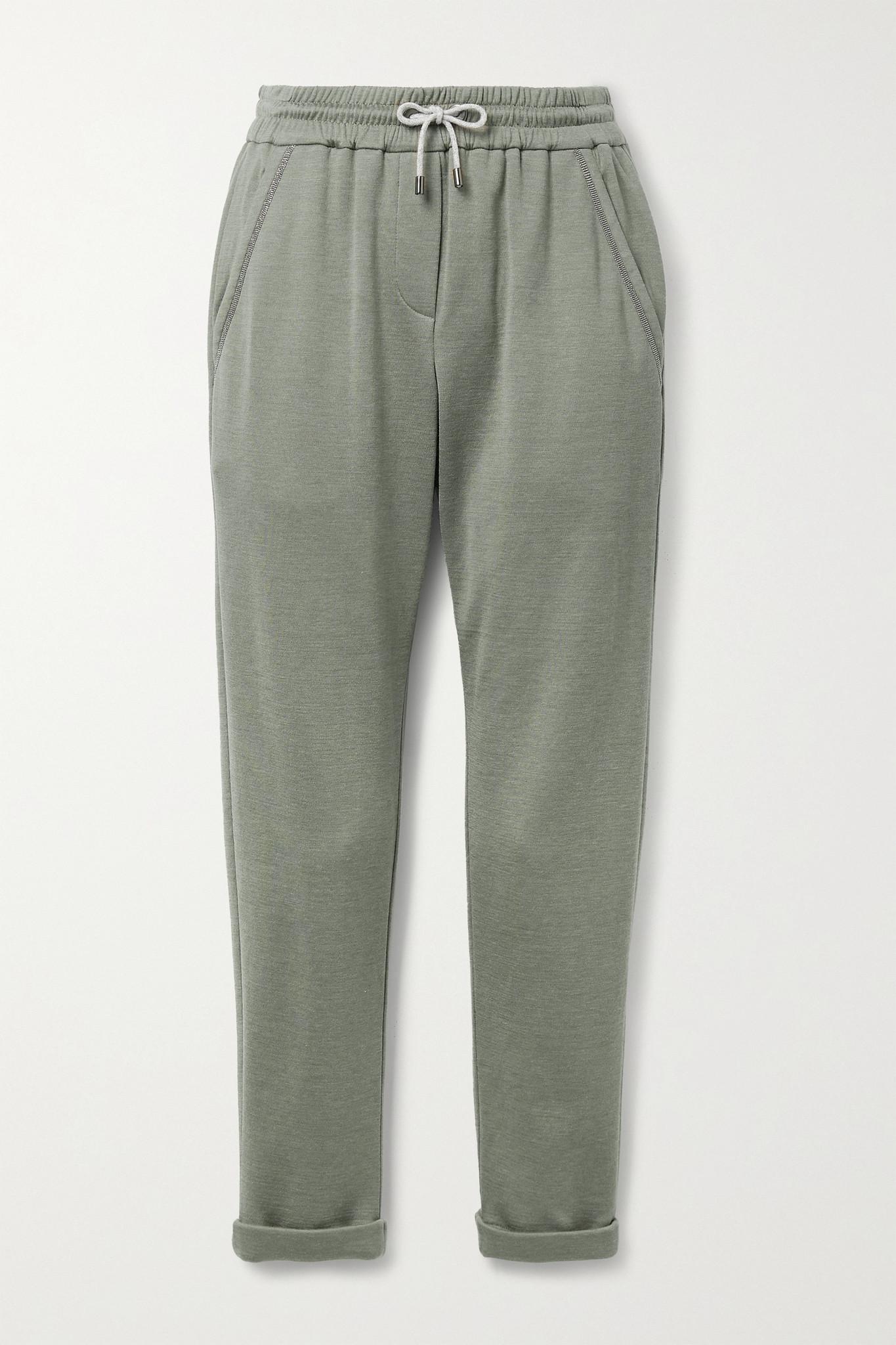 BRUNELLO CUCINELLI - 珠饰棉质混纺平纹布休闲裤 - 绿色 - x small