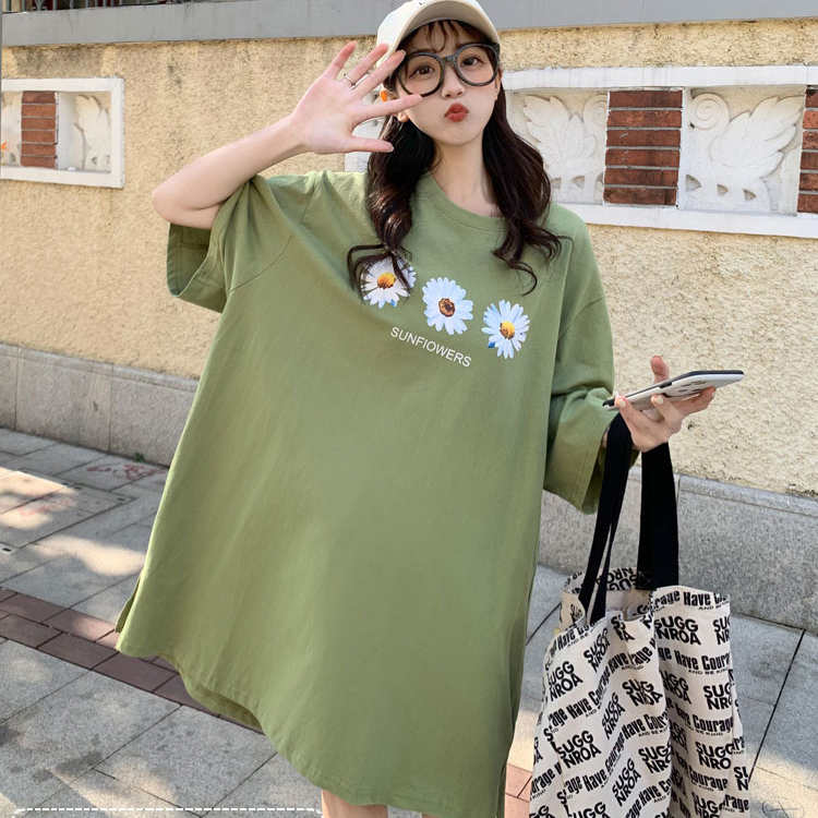 M-4XL大尺碼衣著 小雛菊純棉短袖t恤女夏寬鬆短款韓國東大門年新款insT恤