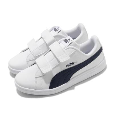 Puma 休閒鞋 UP V PS 人造皮革 童鞋 魔鬼氈 好穿脫 外出 穿搭 小朋友 白 藍 37360206
