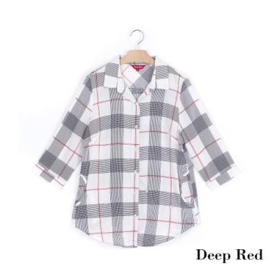 DeepRed 萬年百搭黑白格五分袖襯衫(1色)