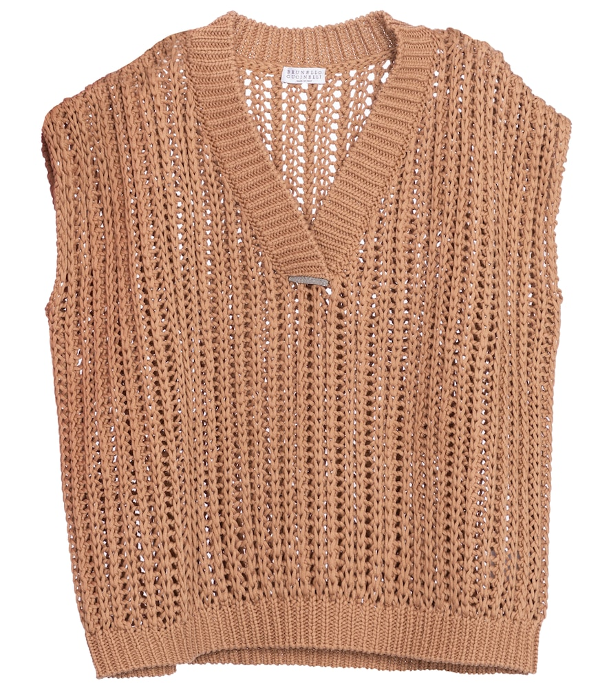 Embellished cotton sweater vest