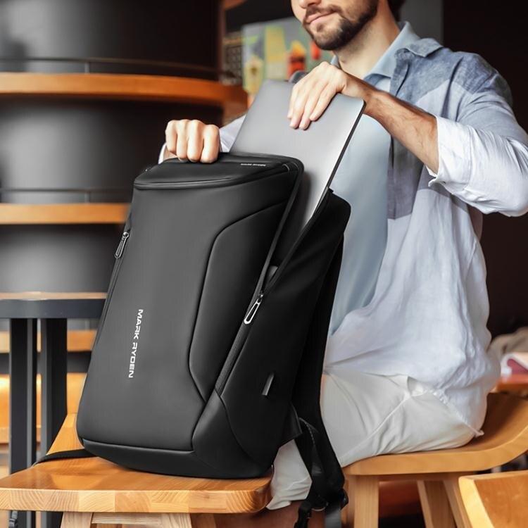 後背包男士包包多功能商務17寸電腦包休閑書包大容量出差旅行背包 果果輕時尚