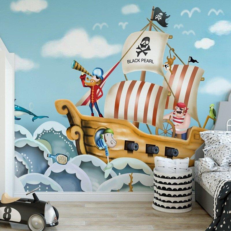 海洋小海盜船兒童房墻紙可愛女孩墻布公主房寶寶樂園壁紙臥室壁畫1愛尚優品