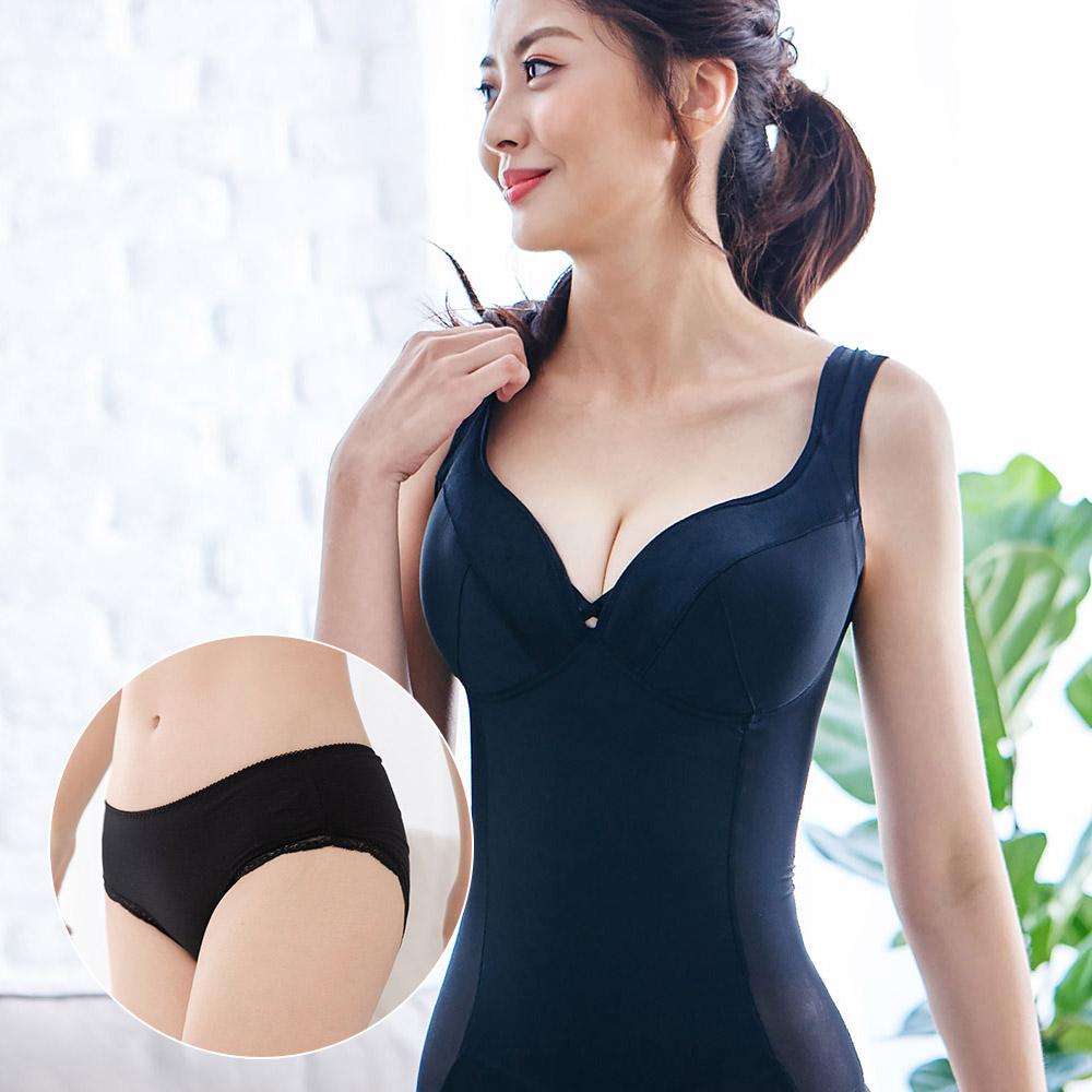 小姿大罩杯-寬肩帶無鋼圈塑身衣 M~3L (EFG杯) 黑+TS6 X Beaulace莫代爾透氣包臀抗菌褲 紐約黑