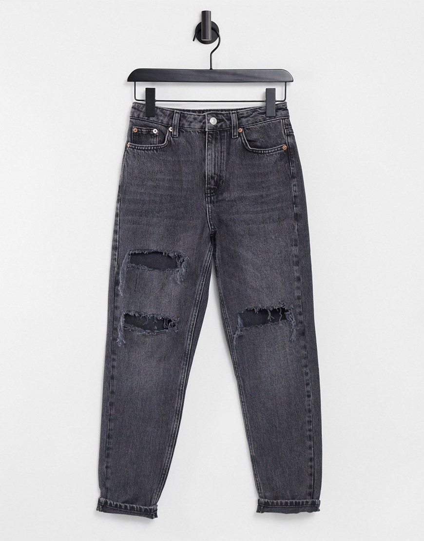 Topshop ripped Mom jeans in washed black