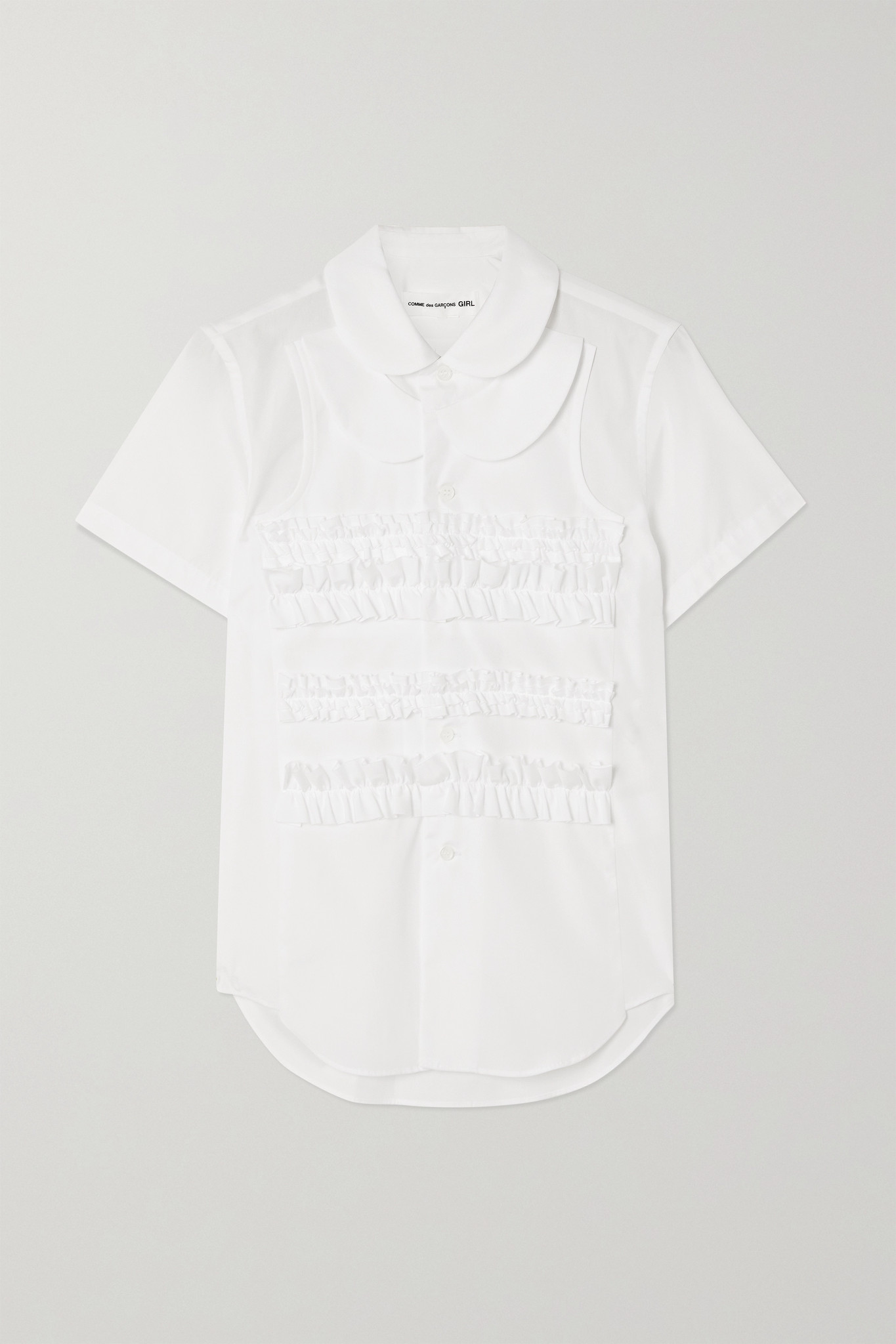 COMME DES GARÇONS GIRL - Ruffled Cotton-poplin Blouse - White - small
