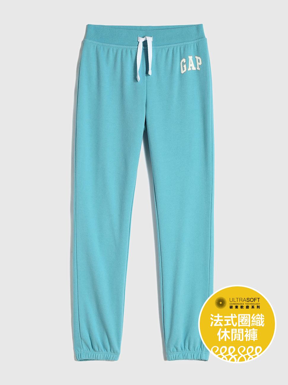女童 碳素軟磨系列法式圈織 Logo鬆緊長褲