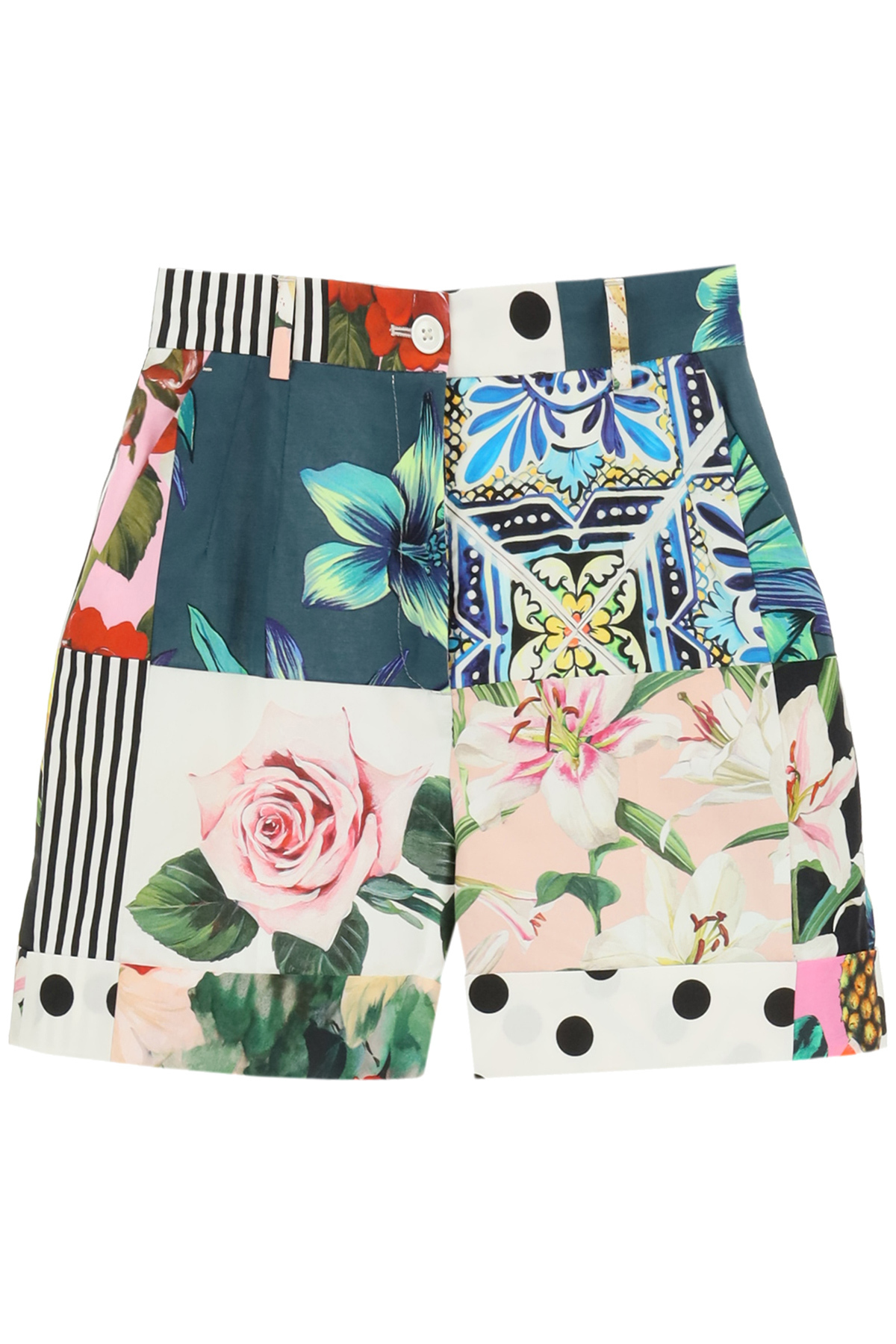 DOLCE & GABBANA PATCHWORK SHORTS 38 White, Pink, Green Cotton