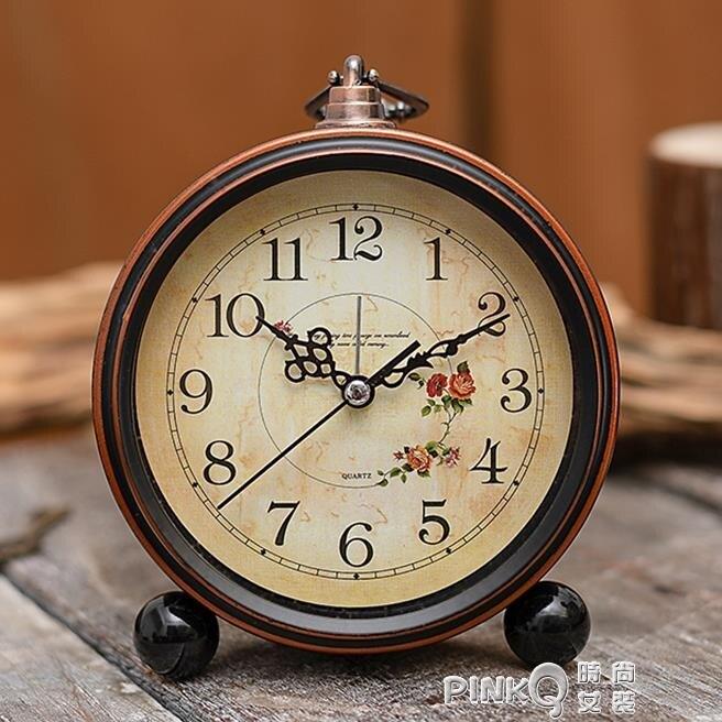 簡約金屬學生時鐘小鬧鐘兒童床頭專用靜音大數字電子復古創意鐘表