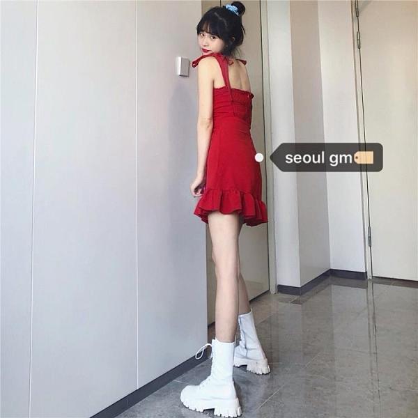SEOUL韓風chic洋氣紅色復古辣妹風修身顯瘦小個子短款吊帶洋裝 喵小姐